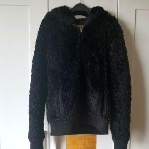 Black faux fur/fluff jacket/hoodie